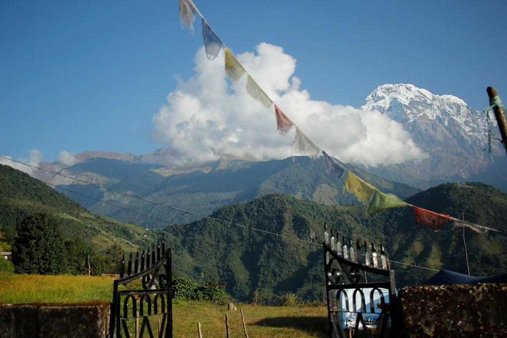 Blick im Himalaya in Gandruk in Nepal