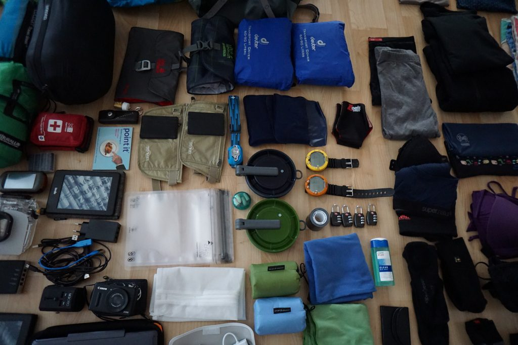 Inhalt meines Rucksacks vor Abreise